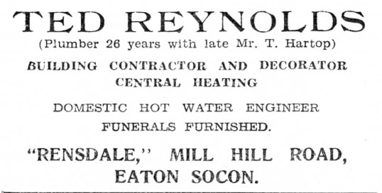 Advert for Ted Reynolds Builders in Mill Hill Rd, Eaton Socon (now Eaton Ford) - from The Gazette church magazine, June 1955