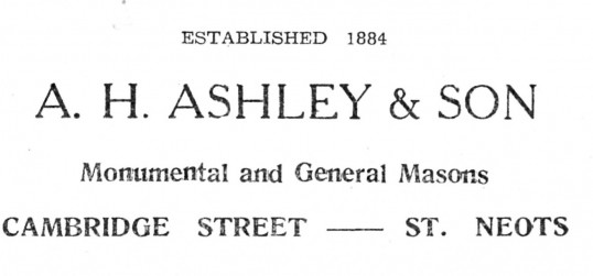 Advert for A.H. Ashley & Son Masons in St Neots - from The Gazette church magazine, June 1955