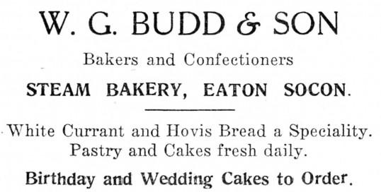 Advert for W.G. Budd & Son bakery in Eaton Socon - from The Gazette church magazine, June 1955