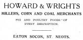 Advert for Howard & Wrights Merchants in Eaton Socon - from The Gazette church magazine, June 1955