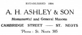 Advert for A.H. Ashley & Son Masons in Cambridge Street, St Neots - from 'His Church' magazine, July 1959