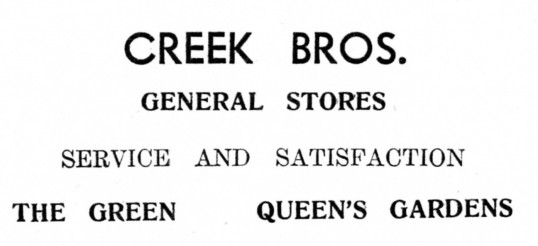 Advert for Creek Bros in Eaton Socon - from 'His Church' magazine, July 1959