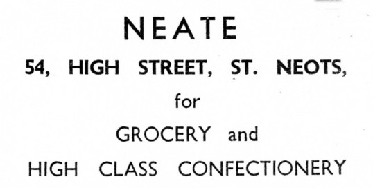 Advert for Neate Grocers in St Neots High Street - from 'His Church' magazine, July 1959