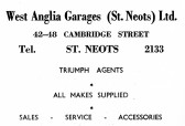 Advert for West Anglia Garages in Cambridge Street, St Neots - from Eaton Socon Parish News, June 1968