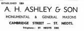 Advert for A.H. Ashley & Son Masons in Cambridge Street, St Neots - from Eaton Socon Parish News, June 1968