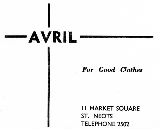 Advert for Avril Clothes Shop in St Neots Market Square - from Eaton Socon Parish News, June 1968