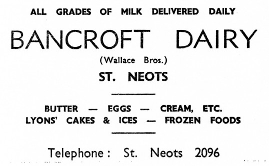 Advert for Bancroft Dairy in St Neots - from Eaton Socon Parish News, June 1968