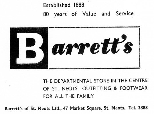Advert for Barrett's Department Store in St Neots Market Square - from Eaton Socon Parish News, June 1968