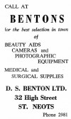Advert for Bentons Photographic and Medical Shop in  St Neots High Street - from Eaton Socon Parish News, June 1968