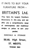 Advert for Brittain's Furniture Shop in St Neots High Street - from Eaton Socon Parish News, June 1968