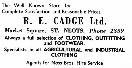Advert for R.E. Cadge Clothes Shop in St Neots Market Square - from Eaton Socon Parish News, June 1968