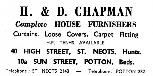 Advert for H. & D. Chapman House Furnishers in St Neots High Street - from Eaton Socon Parish News, June 1968