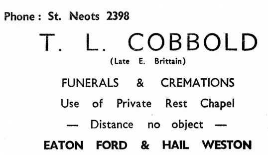 Advert for T. L. Cobbold Funeral Directors in Eaton Ford and Hail Weston - from Eaton Socon Parish News, June 1968