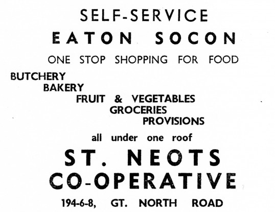 Advert for the Co-op in Eaton Socon - from Eaton Socon Parish News, June 1968