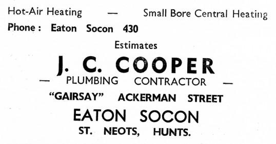 Advert for J.C. Cooper Plumber in Ackerman Street, Eaton Socon - from Eaton Socon Parish News, June 1968