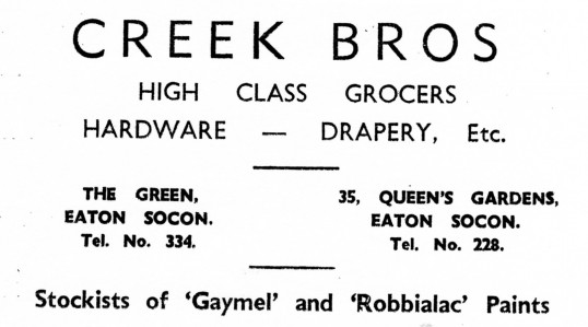 Advert for Creek Bros shops in Eaton Socon - from Eaton Socon Parish News, June 1968