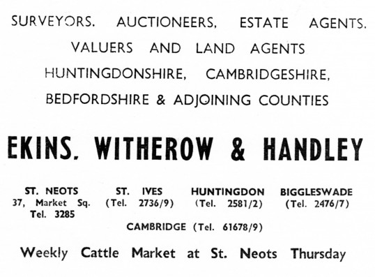 Advert for Ekins, Witherow and Handley Estate Agents, Auctioneers and Surveyors in St Neots - from Eaton Socon Parish News, June 1968