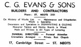 Advert for C.G. Evans & Sons Builders and Contractors in Cambridge Str., St Neots - from Eaton Socon Parish News