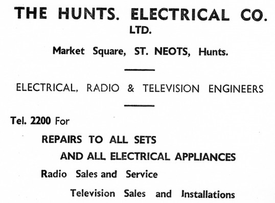 Advert for The Hunts Electrical Co. in St Neots Market Square - from Eaton Socon Parish News, June 1968