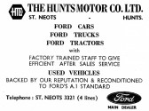 Advert for The Hunts Motor Co. in St Neots - from Eaton Socon Parish News