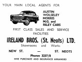 Advert for Ireland Bros in New Street, St Neots - from Eaton Socon Parish News, June 1968