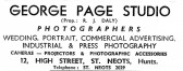 Advert for George Page Photographic Studio in St Neots High Street - from Eaton Socon Parish News, June 1968