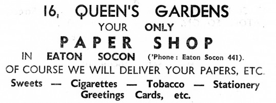 Advert for the Queens Gardens Paper Shop in Eaton Socon - from Eaton Socon Parish News, June 1968