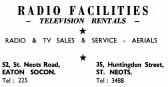 Advert for Radio Facilities Shop in Eaton Ford and St Neots - from Eaton Socon Parish News, June 1968