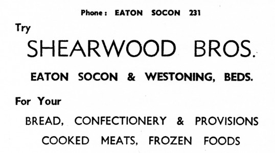 Advert for Shearwood Bros Bread and Groceries Shop in Eaton Socon (formerly Budds) - from Eaton Socon Parish News, June 1968