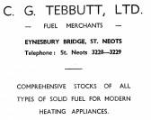 Advert for C.G. Tebbutt Ltd Fuel Merchants of Eynesbury Bridge, St Neots - from Eaton Socon Parish News, June 1968