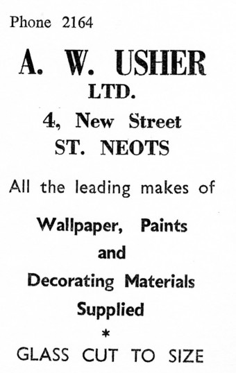Advert for A.W. Usher Ltd, Wallpaper and Paint Shop in New Street, St Neots - from Eaton Socon Parish News