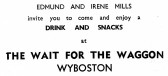 Advert for Wait for the Waggon Pub in Wyboston - from Eaton Socon Parish News, June 1968