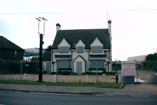 The new warehouse being built behind a closed Bell Pub on the Great North Rd in Eaton Socon in November 2006