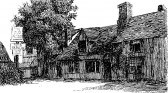 Sketch of The Old Falcon on the Great North Rd in Eaton Socon before the 1790's