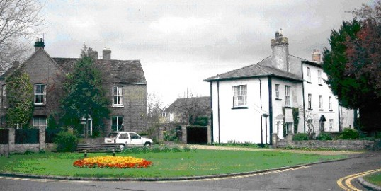 View of Eaton Socon village green showing the former Falcon Public House in 2006