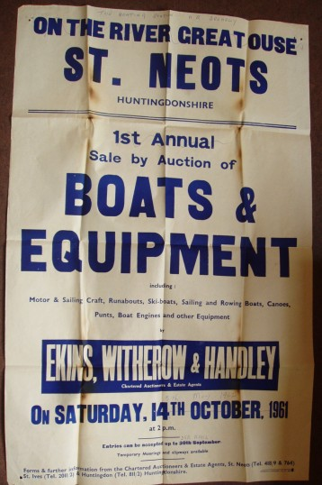 Poster advertising the First Annual Auction of boats and equipment in St Neots, in 1961