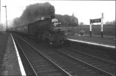 A steam train passing St Neots Railway Station, in 1959