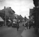 A view looking east along St Neots High Street, from Barretts Corner in the 1950s