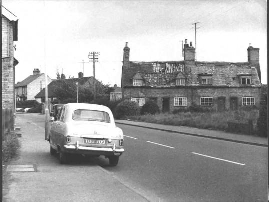 Derelict Cottages soon to be demolished (The Gardens) in St Neots Rd, Eaton Ford in the 1960s