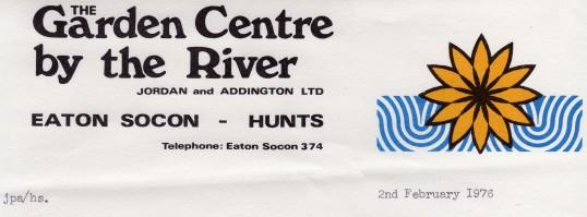 Letterhead from Addingtons Garden Centre in Eaton Socon, February 1976