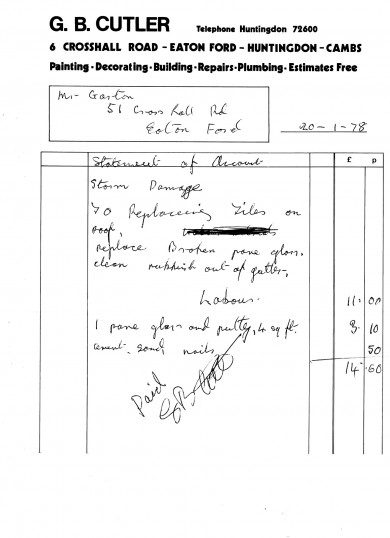 Bill from Cutler's Builders for work undertaken after storm damage in Eaton Ford, dated 1978
