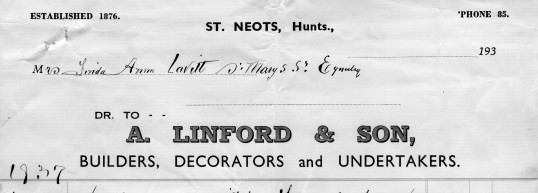 Letterhead from A. Linford & Son, Builders, Decorators  and Undertakers in St Neots