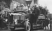 St Neots Fire Engine and crew with bride and bridegroom married at St Marys, St Neots Church in the 1930s