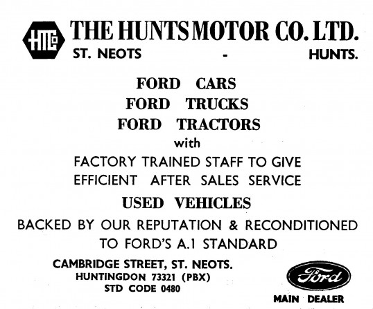 Advert for The Hunts Motor Co Ltd in Cambridge Street, St Neots, 'News of the Churches' magazine Dec 1972