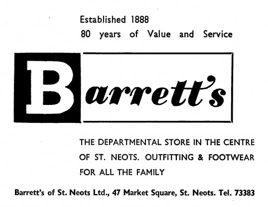 Advert for Barrett's Shop at 47 Market Square, St Neots, 'News of the Churches' magazine Dec 1972