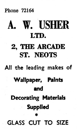 Advert for A.W. Usher Ltd at 2 The Arcade, St Neots, 'News of the Churches' magazine Dec 1972 & Feb 1975