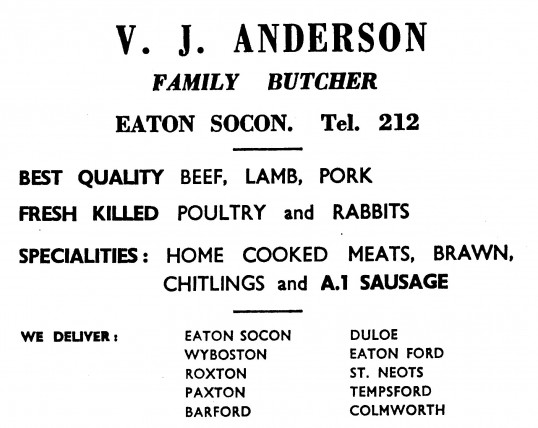 Advert for V.J. Anderson's Butchers Shop in Eaton Socon, 'News of the Churches' magazine Dec 1972 & Feb 1975