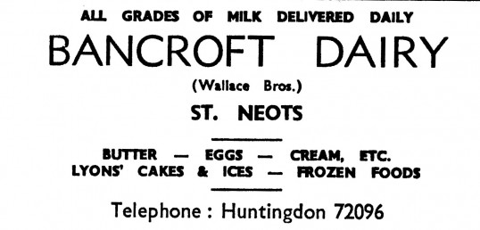 Advert for Bancroft Dairy in St Neots, 'News of the Churches' magazine Dec 1972