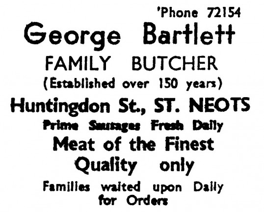 Advert for George Bartlett, family butcher in Huntingdon Street, St Neots, 'News of the Churches' magazine Dec 1972