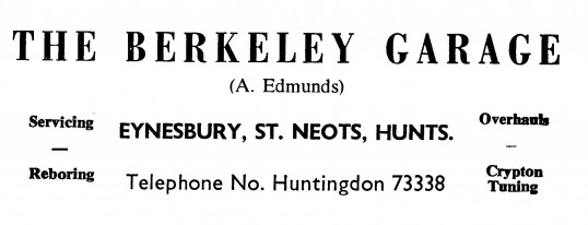 Advert for The Berkeley Garage in Eynesbury, 'News of the Churches' magazine Dec 1972 & Feb 1975